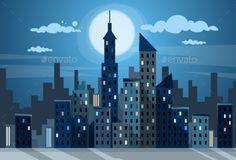 City Skyscraper Night View Cityscape Snow Skyline Flat Vector Illustration