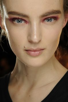 When trying out a pink eyeshadow, keep your other makeup minimal. D.Karan. AW13. #asos #beauty.