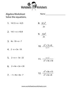 Printables High School Algebra 1 Worksheets algebra 1 practice worksheet printable pinterest printable