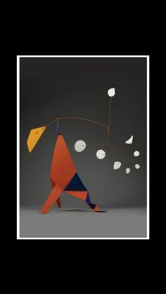 "Alexander Calder - "" Orange quadrilateral "", 1973 - Painted sheet metal and rod - 138,4 x 144,8 x 53,3 cm"