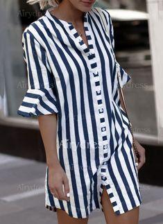 Pamuk Diz üstü Son Moda Yarım kollu Şerit Elbiseler (1115714) @