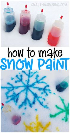 Make some snow paint using 2 ingredients! Snow paint recipe for kids to make this winter. Winter snow activity for kids. Easy and cheap way to entertain the kiddos. Kids craft idea Winter Activities for Kids Snow Activities, Winter Activities For Kids, Winter Crafts For Kids, Crafts For Boys, Winter Kids, Winter Art, Winter Snow, Craft Ideas For Girls, Arts And Crafts For Kids Easy