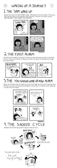 "The struggle is real. ""Waking Up: A Journey"", Sarah C. Sarah Anderson Comics, Sara Anderson, Life Comics, Bd Comics, Funny Quotes, Funny Memes, Hilarious, Jokes, Funny Cartoons"