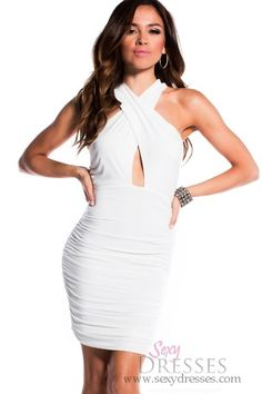 Sexy White Draped Criss-Cross Exposed Back Ruched Dress 9dbd68274