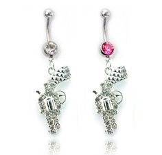 $5.99 Dangling Pistol Revolver Belly Ring - Pink or Clear