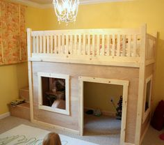 Playhouse loft bed with storage stairs - click the links for drawings and DIY instructions