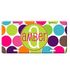 Personalized License Plate Car Tag  Jumbo Dots by mydoodlebugz, $20.00