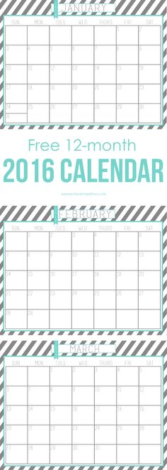 Monthly & weekly printable planner - Here are 20 free printable 2016 calendars that you can print out and customize. Weekly, monthly and yearly calendars, cute calendars, food calendars. a collection of free printable calendars for you to use. Free Printable Calendar, Printable Planner, Free Printables, Planner Organization, Classroom Organization, 2016 Calendar, Menu Calendar, Getting Organized, How To Plan