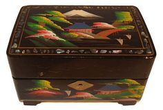 lol...I have a couple of these in a box in the garage... Lacquered Japanese Jewelry Box $149.00 $399.00 Estimated Market Value Era: Vintage Condition: Very Good; minor wearon OneKingsLane.com