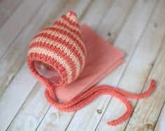 Striped Knitted Bonnet and Stretchy Wrap in Corals  by clickknits, $30.00