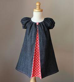 Holiday Denim Peasant Peekaboo Dress Sizes 6m by pitpatwaddlepat, $42.00