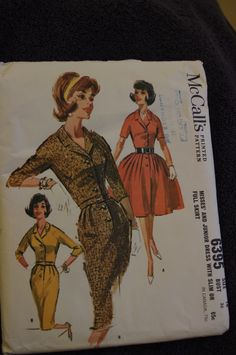 Madman Bouffant Button Front Dress With Raglan Sleeves or Slim Wiggle Dress - Vintage McCall's Sewing Pattern 6395 - 36 Bust 60s Patterns, Mccalls Sewing Patterns, Vintage Sewing Patterns, 1960s Fashion, Vintage Fashion, Button Front Dress, Miss Dress, Beautiful Patterns, Vintage Dresses