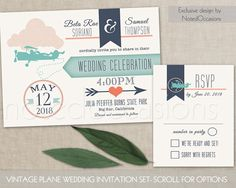 Vintage Plane Wedding Invitations Digital by NotedOccasions. Vintage Airplane and banner wedding invitations and rsvp card. The trendy love is in the air plane wedding invitation is 5x7 and has a banner announcing your wedding with super trendy typography and a super fun vintage plane with a pilot inviting your guests to the big day