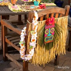 DIY this tiki-tastic chair decoration!