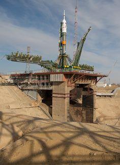 Expedition 35 Soyuz Rollout (201303260022HQ)  #soyuz #rocket #launchpad