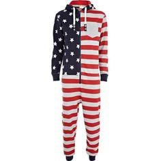 Red Tokyo Laundry flag print onesie (455 ZAR) ❤ liked on Polyvore featuring men's fashion, men's clothing, men's sleepwear, pajamas, onesie, onsies, pijama, playsuit and sale