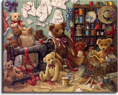 Teddy Bear Workshop, a painting of several teddy bears surrounding an antique sewing machine, shelves of threads and many patterns tacked to the wall. One of the Janet Kruskamp Teddy Bear Gallery of original oils and  Original Oil Paintings by Janet Kruskamp