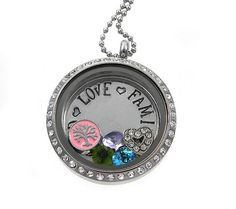 Family Tree of Life Locket / Floating Lockets / Personalized Hand Stamped Jewelry by Silver Impressions