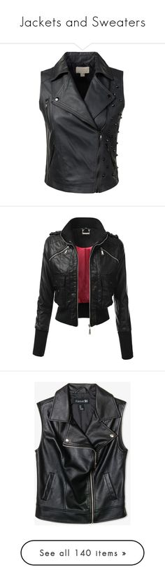 """""""Jackets and Sweaters"""" by alexaluc17 ❤ liked on Polyvore featuring outerwear, vests, studded faux leather vest, fake leather vest, vest waistcoat, studded vests, biker vests, jackets, synthetic leather jacket and zip up jackets"""