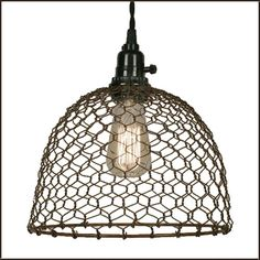 Chicken Wire Dome Pendant Light in Primitive Rust - Ceiling Pendant Fixtures - Amazon.com