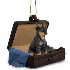 Hand Painted Black Doberman Cropped Figurine Traveling Companion in a Suitcase
