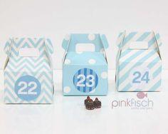 Adventskalender Schachtel Set, 1 Farbe 3 Designs, div. Farben