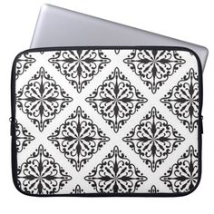 Black and White Large Damask Print Pattern Laptop Sleeve