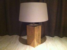 Houten lampen [ set berkenhout ] twee tafellampen gemaakt van
