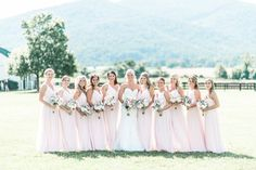 Long blush bridesmaid dresses