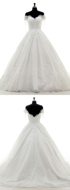 A-line Wedding Dress - Off-the-shoulder Tulle Court Train Short Sleeves Appliques Beading