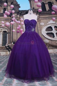 Fall Colors Purple  Ball Gown Sweetheart Floor-length Tulle
