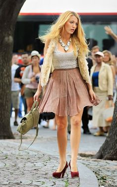 Blake Lively wearing Brian Atwood Power Stud Embellished Pumps, Haute Hippie Feather Sequin Vest, Rodarte For Opening Ceremony Reverse Pleated Skirt, Mulberry Resort 2012 Harriet Ostrich Tote and Siman Tu Veined White Turquoise Necklace.