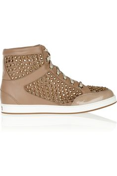 Jimmy Choo | Tokyo crystal-embellished suede, leather and patent sneakers  | NET-A-PORTER.COM