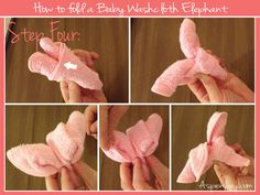 Great tutorial on how to fold a baby washcloth elephant. This is easy to understand.