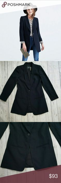 Madewell Trevi Drapey Blazer Drapey and lightweight, this true cool-girl blazer has fresh side slits that show a peek of whatever's underneath. True to size. Polyester. About 17 inches armpit to armpit. About 14 inches across the shoulders. About 16.5 across the natural waist. 31 inches long from the top of the shoulder to the hem.  Brand new, never worn, and sold out! Madewell Jackets & Coats Blazers