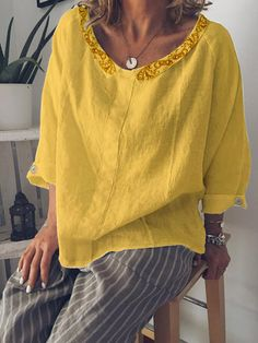 Casual Peter Pan Collar Buttoned Cotton-Blend Shirts & Tops - Fashion - Womens - Women's Clothing - Shirts & Blouses - #fashion #clothing #blouse Trendy Clothes For Women, Blouses For Women, Style Casual, Casual Outfits, Peter Pan, Short Sleeve Blouse, Long Sleeve, Nice Tops, Types Of Sleeves