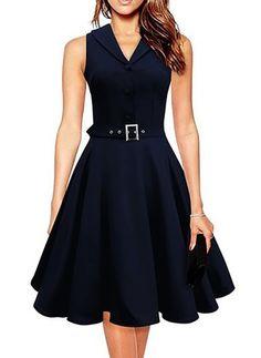 Sisjuly Women Vintage Dresses Summer Elegant Dress Sleeveless Party Dresses dark blue style a line rockabilly dress Women's A Line Dresses, Pin Up Dresses, Fashion Dresses, Summer Dresses, Party Dresses, A Line Dress Work, Dresses Dresses, Sleeve Dresses, Mini Dresses