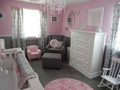 Here are pictures of the pretty pink and gray princess nursery that we recently decorated for our baby girl.  We feel that the room is a feminine yet functional