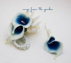 Royal Blue Picasso Calla Lily Boutonniere Corsage Wedding Prom
