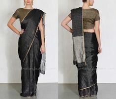 Plain Black Silk Saree