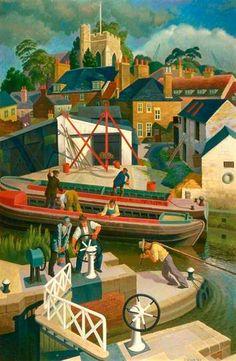 The Grand Union Canal, Brentford Lock , 1954 by Osmund Caine (British, Edward Hopper, Landscape Art, Landscape Paintings, Landscapes, Little Britain, Brentford, Art Uk, Naive Art, London Art