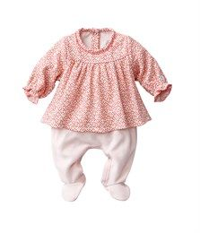 Baby girl tubic jersey blouse all-in-one with polka dots and birds print Lait white / Blushy pink - Petit Bateau