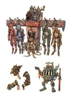 Armoured oddities 2 by eoghankerrigan Character Concept, Character Art, Concept Art, Character Design, Dark Fantasy, Fantasy Art, Pen & Paper, Humanoid Creatures, Fantasy Characters