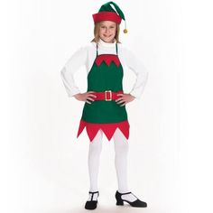 Elf Holiday Apron and Hat Child Christmas Costume Set. This cute little elf set includes an apron and hat in a forest green fleece apron with bright red felt trim and hat with gold glitter pom pom.