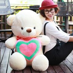 (73.80$)  Know more - http://aii2r.worlditems.win/all/product.php?id=32329779802 - Fancytrader 31'' / 80cm Super Lovely Plush Soft  Stuffed Giant Teddy Bear Toy, 2 Colors Available, Free Shipping FT50801