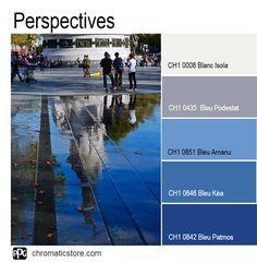 Le #bleu, quelque soient ses hauteurs de tons donne de la perspective à un espace. Bel exemple d' #harmonie en faux #camaïeu. www.chromaticstore.com
