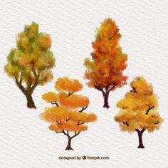 Pintados à mão árvores do outono