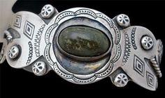Vintage Sterling Silver Jasper Bracelet Cuff Hand Wrought Southwestern Green | eBay