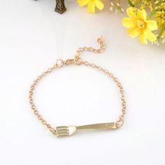 Fork Charm Bracelet Gold Plated NWT