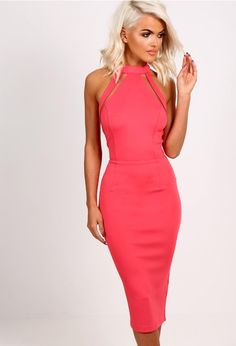 Kristin Coral Pink Mesh Panel Bodycon Midi Dress